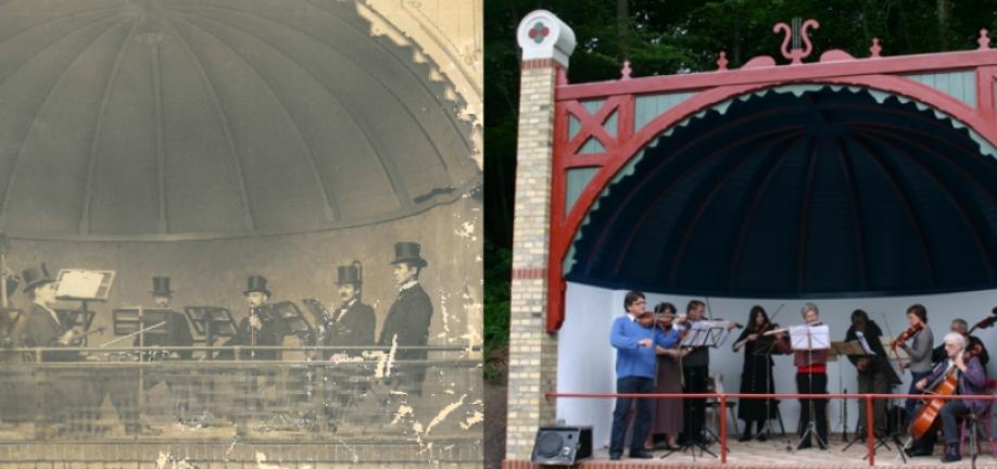 Musiktribunen før og efter - fotos: Svendborg Byhistorisk Arkiv